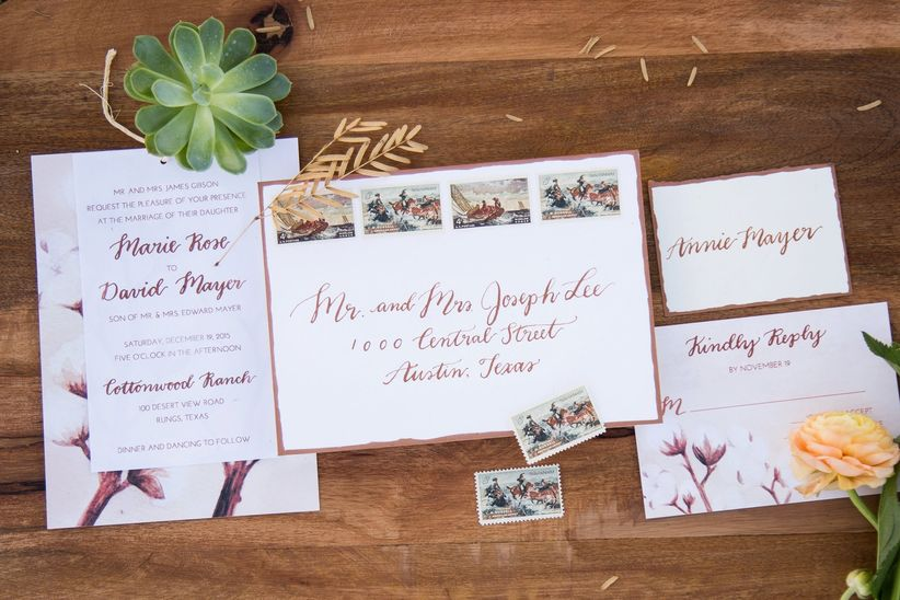 invitation suite with stamps, rsvp
