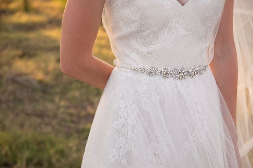 lace and tulle dress with beaded belt - dawn elizabeth studios