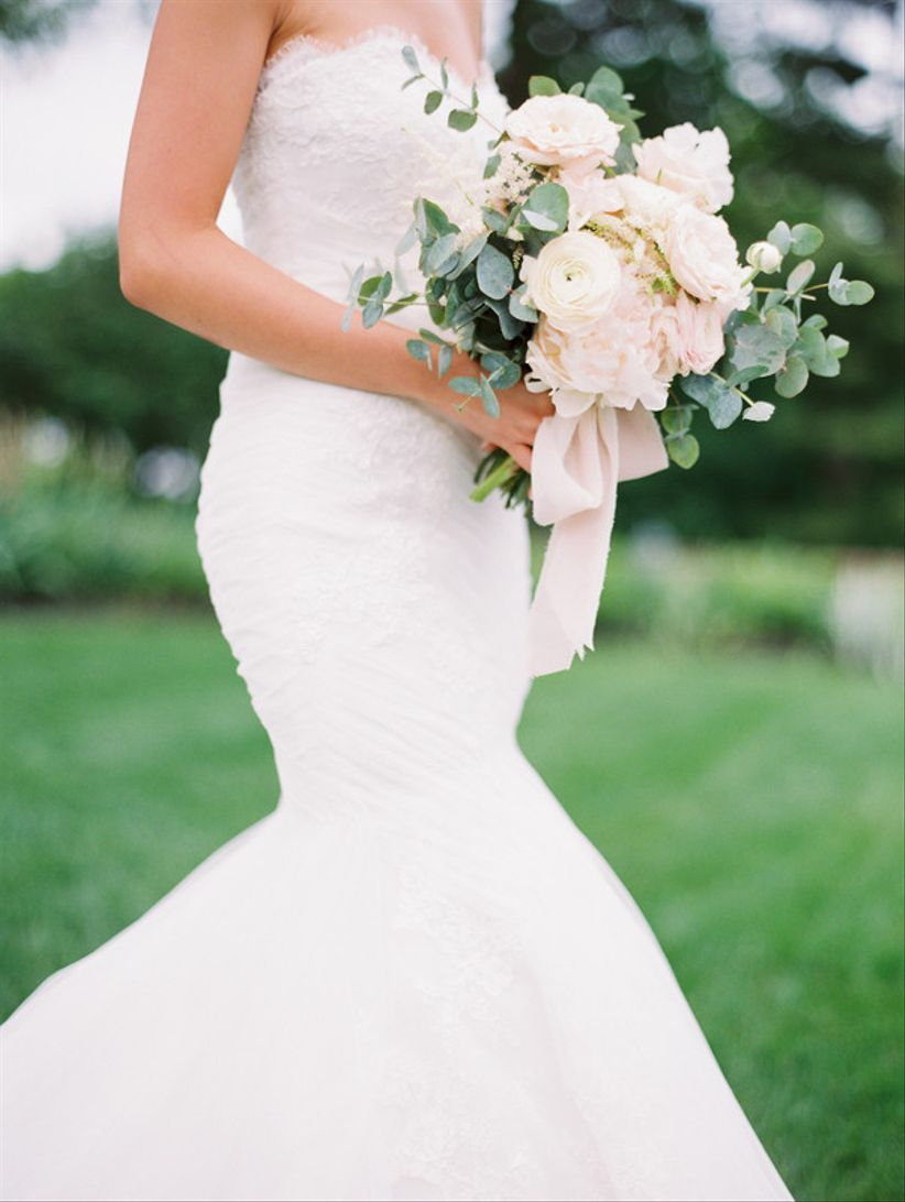 vintage wedding bouquet with garden roses greenery and blush ribbons