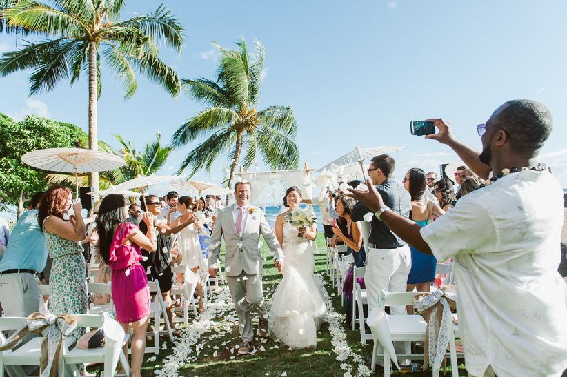 destination wedding bride and groom recessional