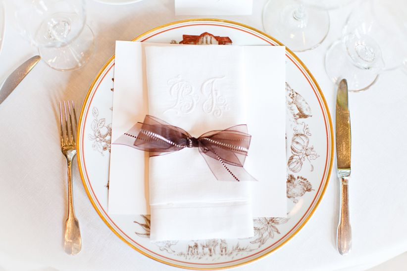 ivory and gold formal place setting