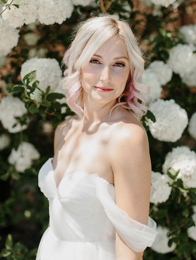 pink hair bride