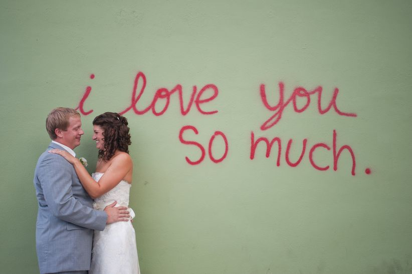 wedding photos in downtown Austin in front of I love you so much street art