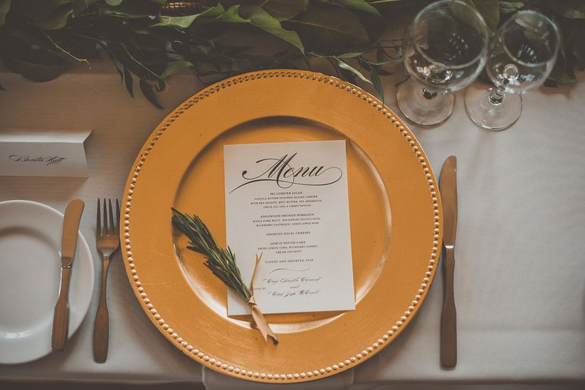 Classic gold charger place setting