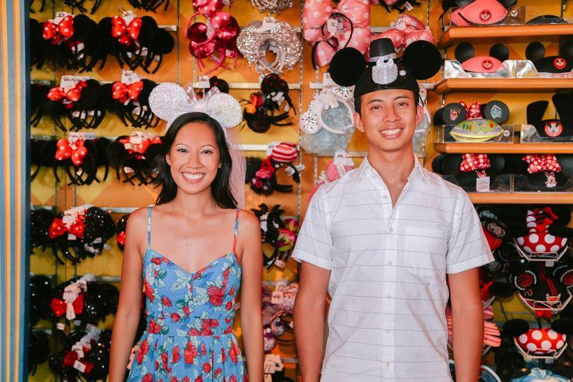couple in mickey ears