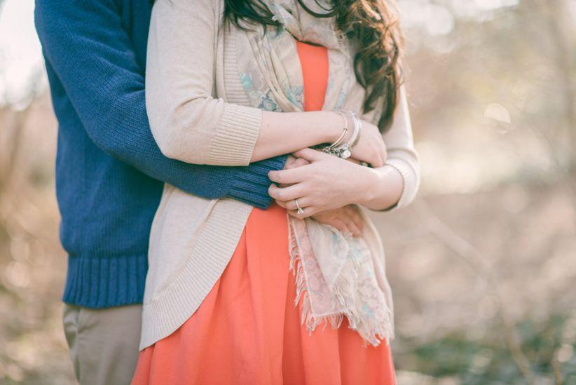 engagement photo couple holding hands