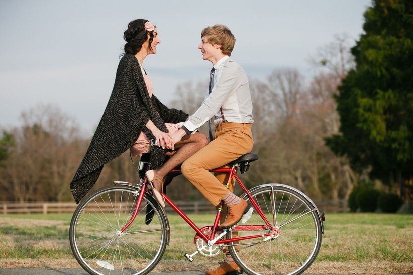 engagement photo bicycle