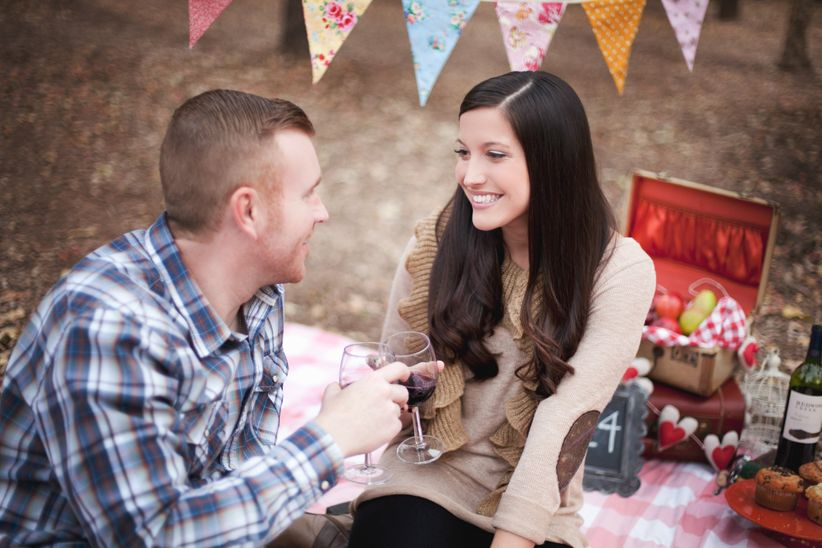 engagement photo kissing couple