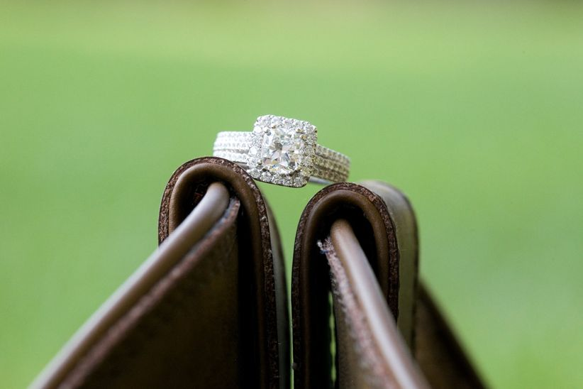 engagement ring on leather boot