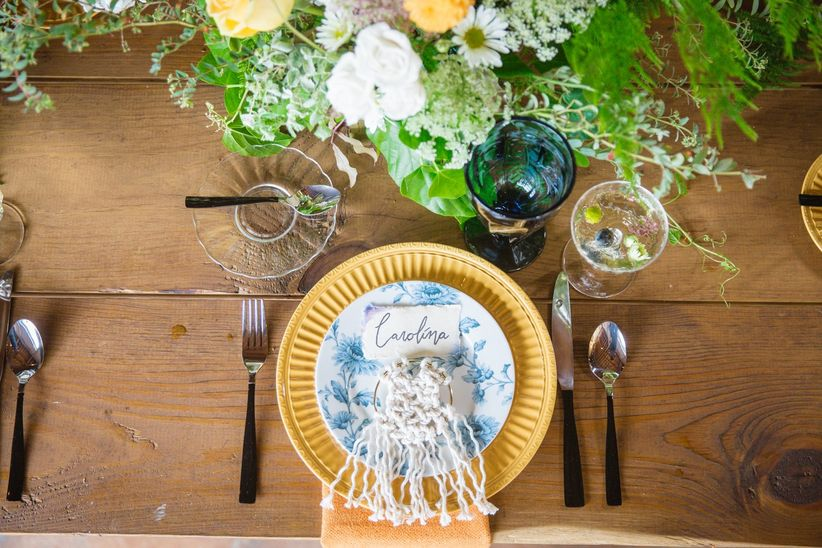bohemian wedding place setting with macrame