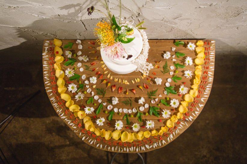 bohemian wedding cake display with flowers