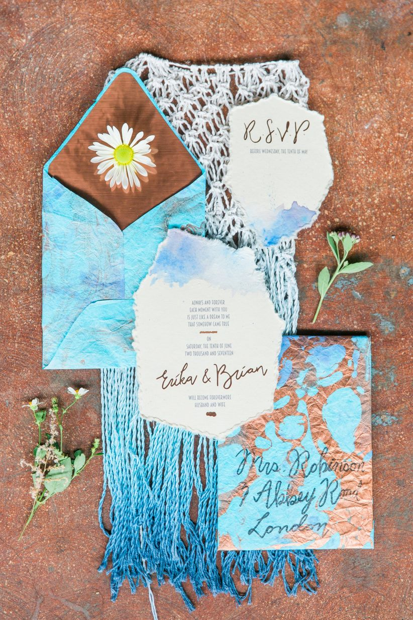 bohemian wedding invitations with blue watercolor and macrame