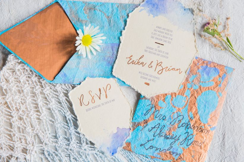 blue bohemian wedding invitations and RSVP cards