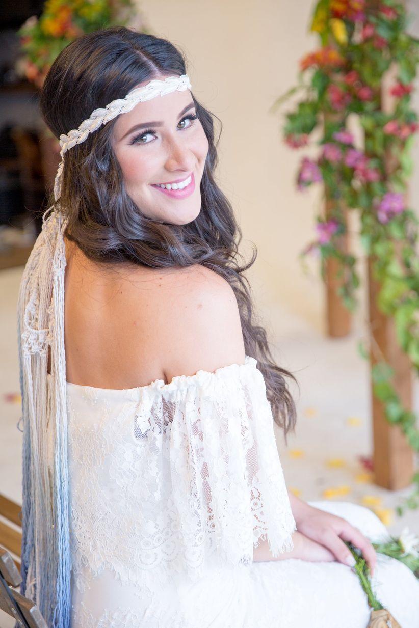 bohemian bride with natural makeup and loose curls
