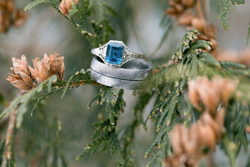 sapphire engagement ring silver men's wedding band
