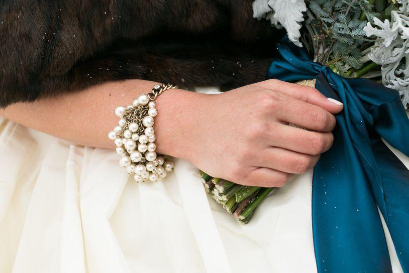 close up shot multi-strand pearl bracelet