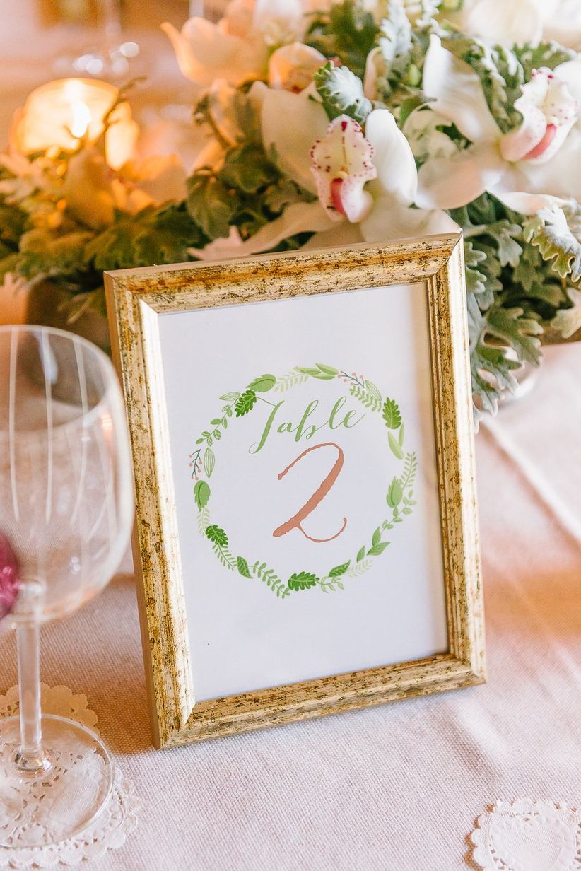 table numbers worn wooden frames modern calligraphy wreath motif
