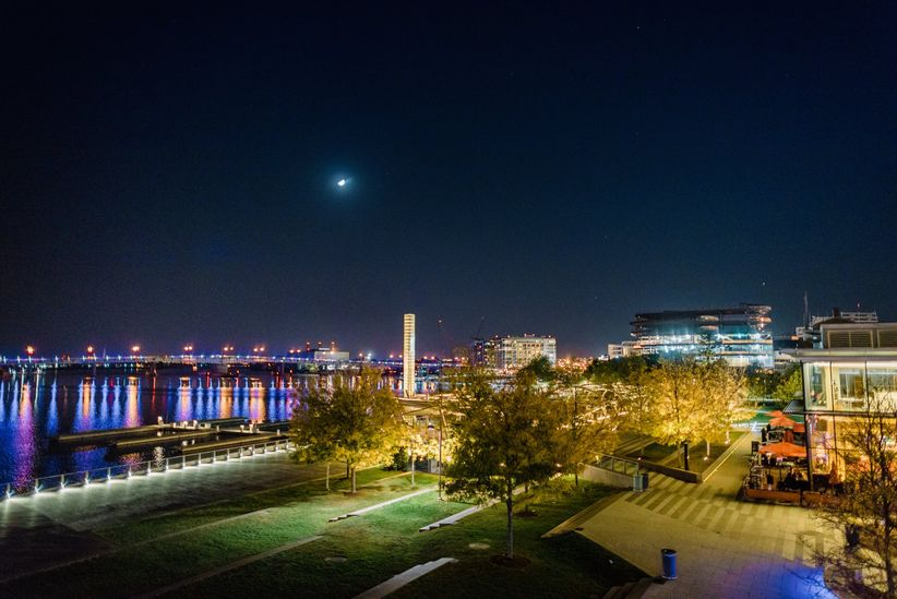 View of the Anacostia River at night from District Winery