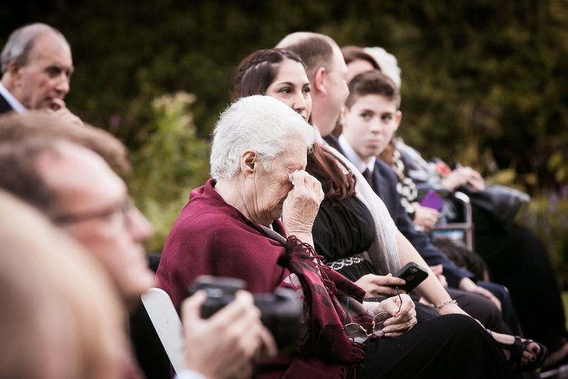 grandmother crying at ceremony