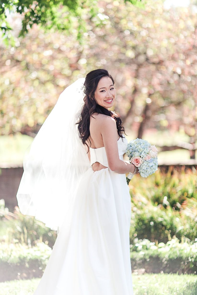 Every wedding veil style length explained weddingwire fingertip length veil junglespirit Image collections