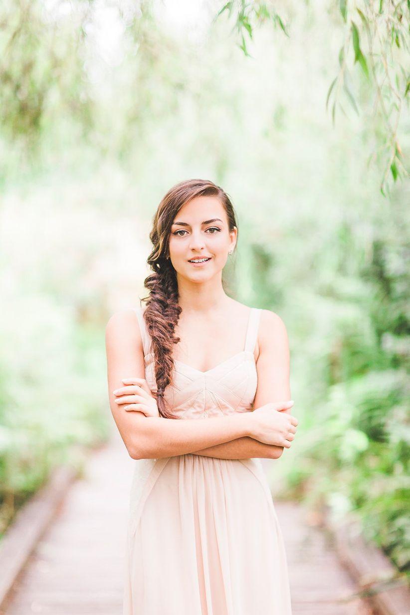 bridesmaid brown hair fishtail braid