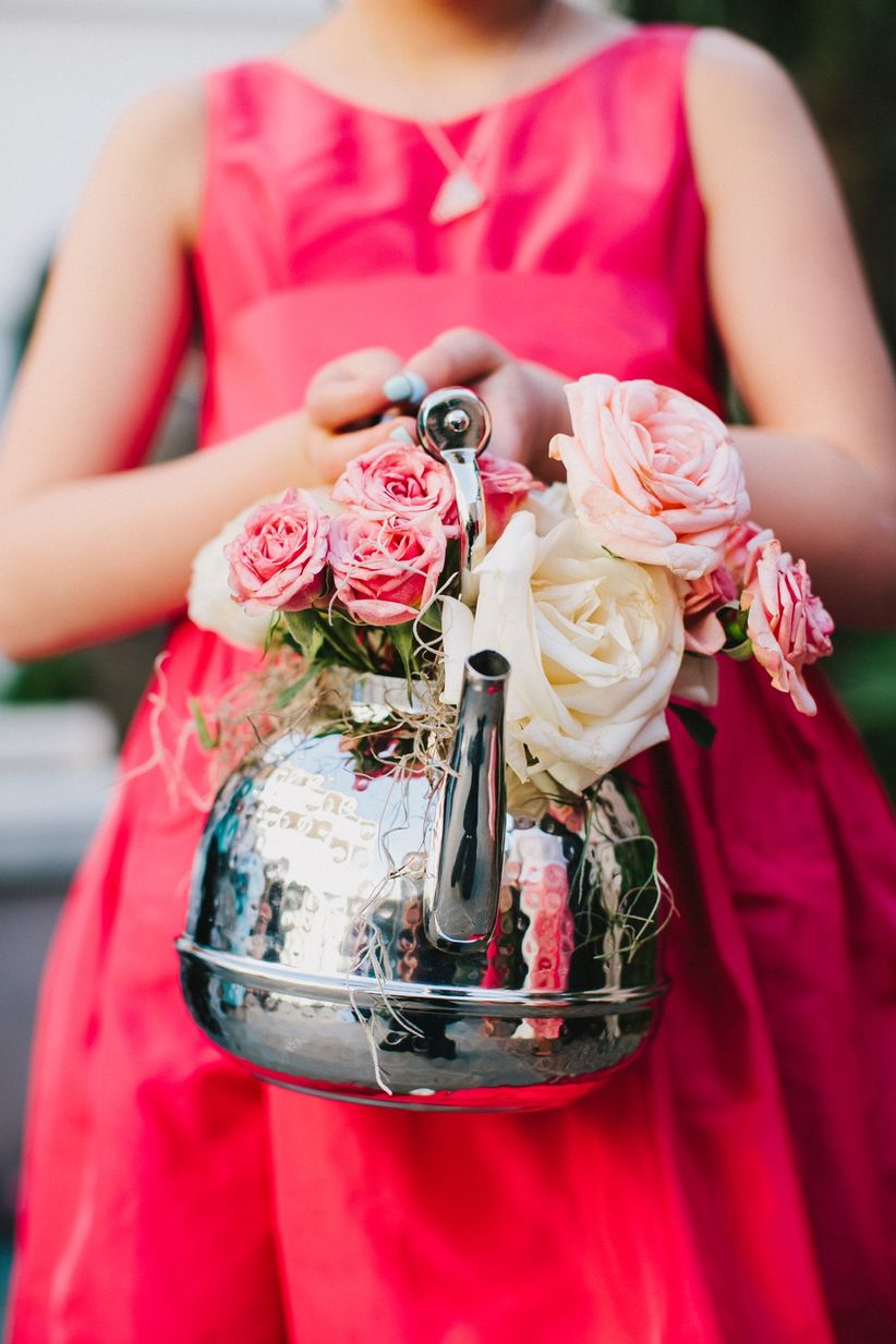 teapot flower girl basket