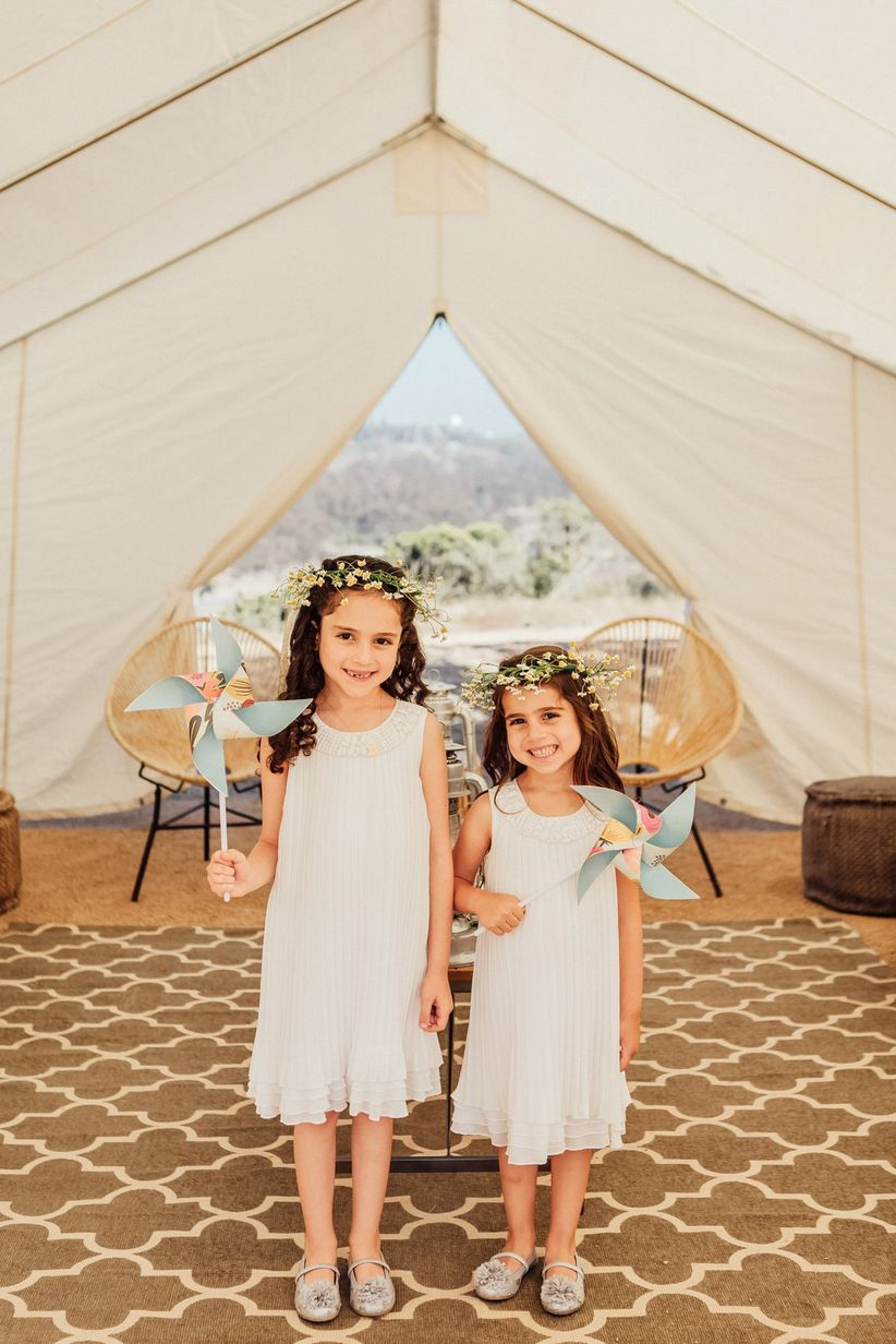 flower girls with pinwheels