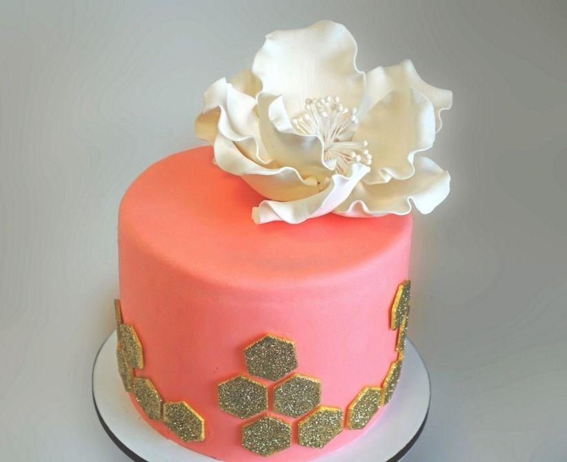 geometric pink gold white mini wedding cake