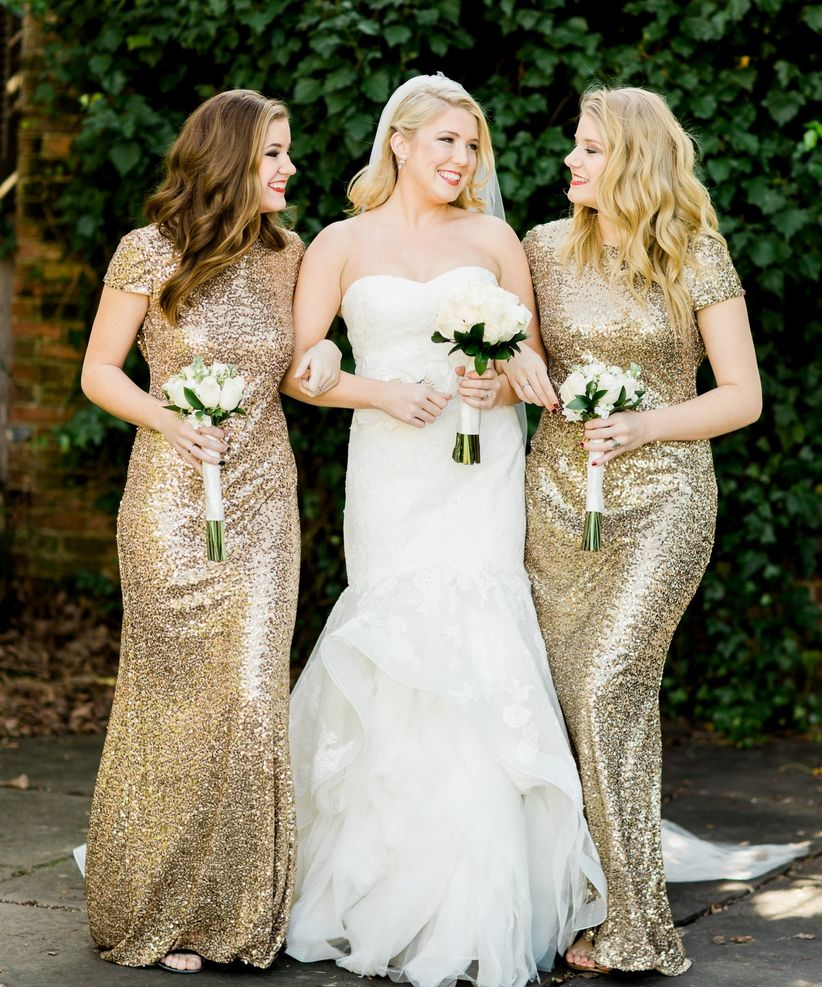 21 ways to make your wedding day sparkle weddingwire gold bridesmaid dress ombrellifo Gallery