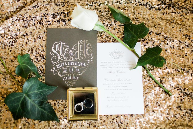 Gold and white invitation suite