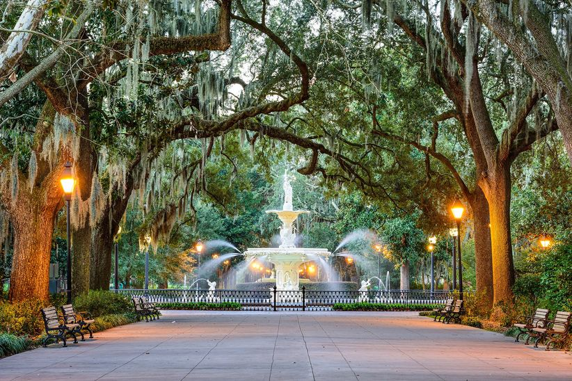 Forsyth Park savannah wedding