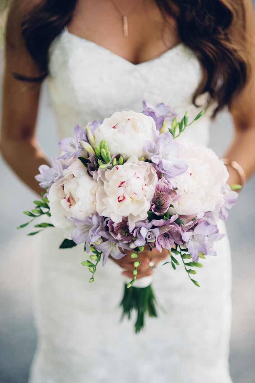 purple freesia wedding bouquet