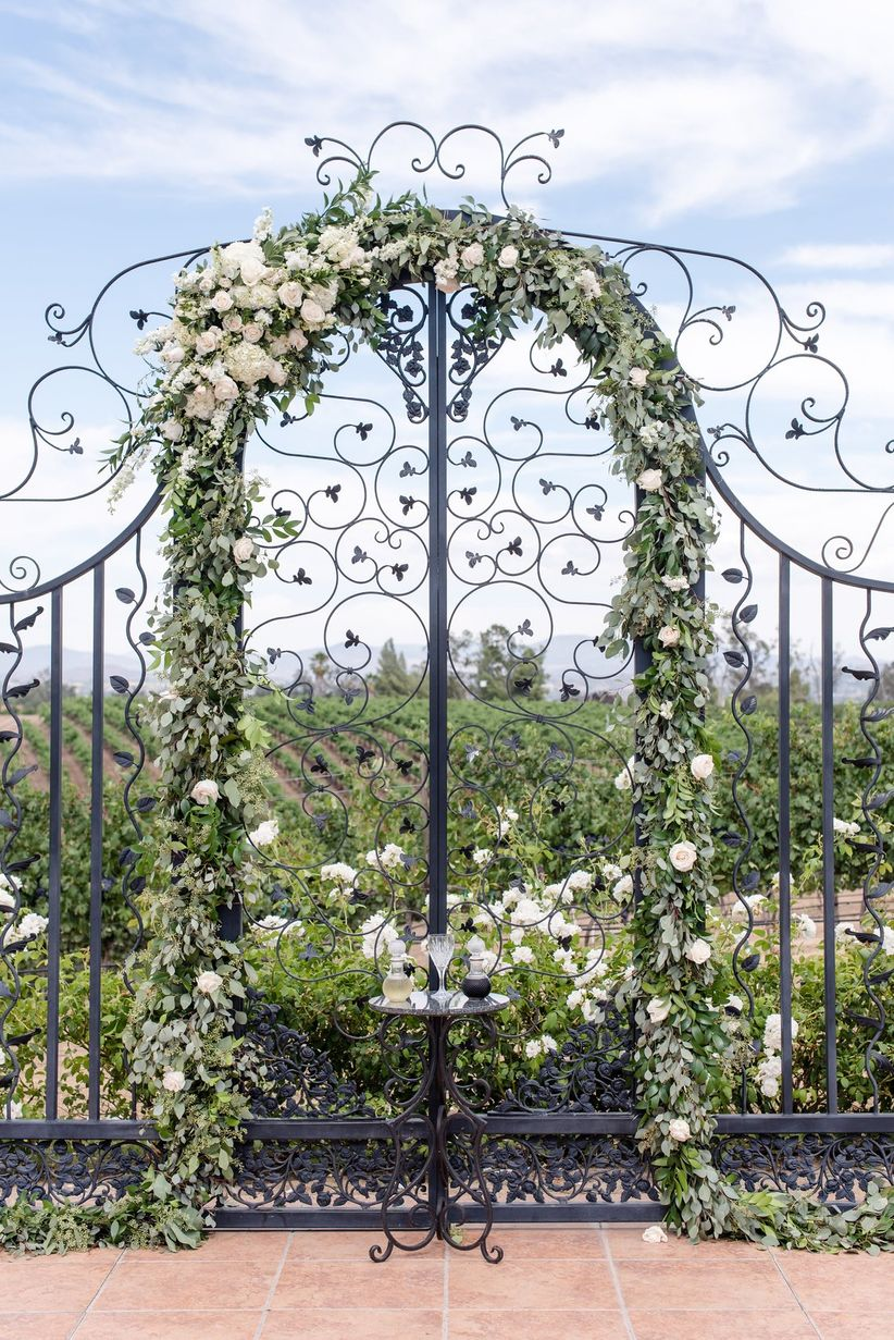 greenery wedding ceremony arch