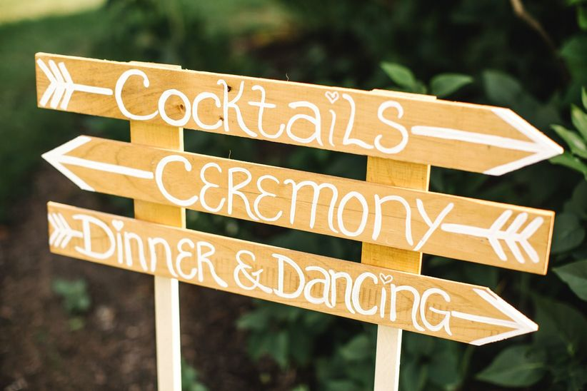 Wedding sign with directions