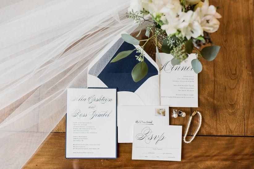 The wedding stationery timeline every couple needs weddingwire classic wedding invitations stopboris Choice Image