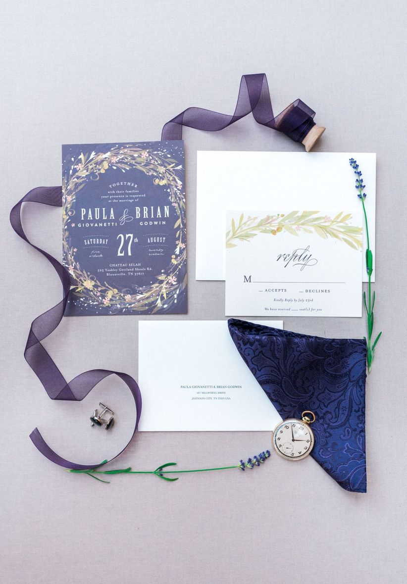 purple wedding invitations