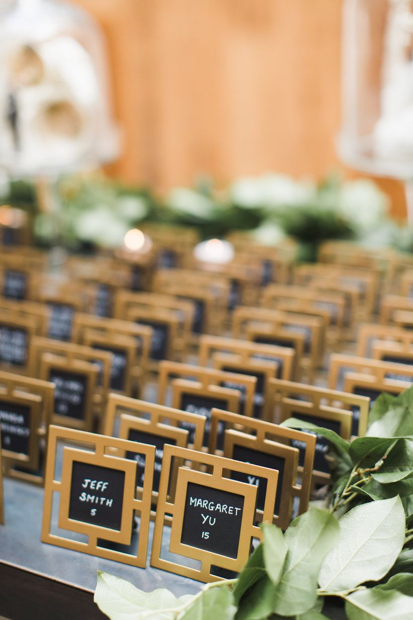 gold escort card frames