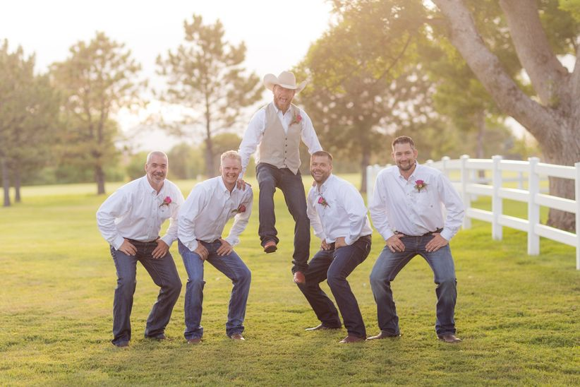 Groom And Groomsmen Dark Wash Jeans White Button Down Cowboy Boots