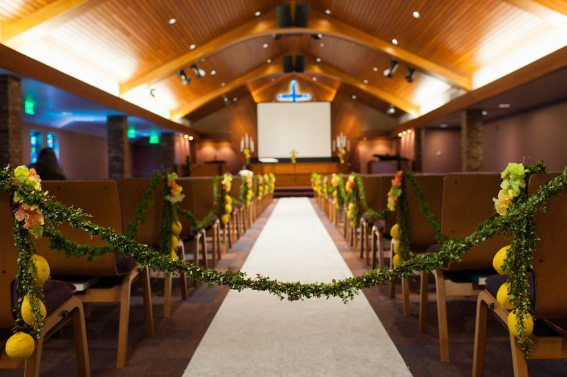 greenery garland ceremony aisle