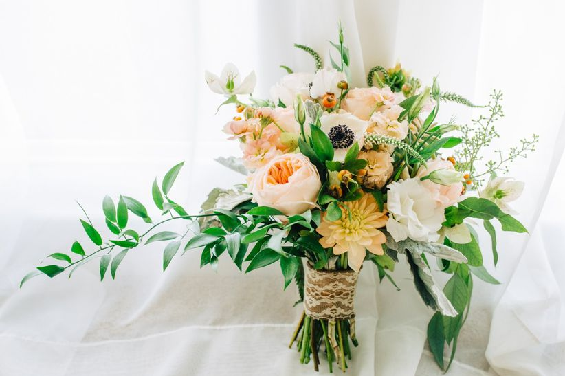 asymmetrical bouquet with greenery