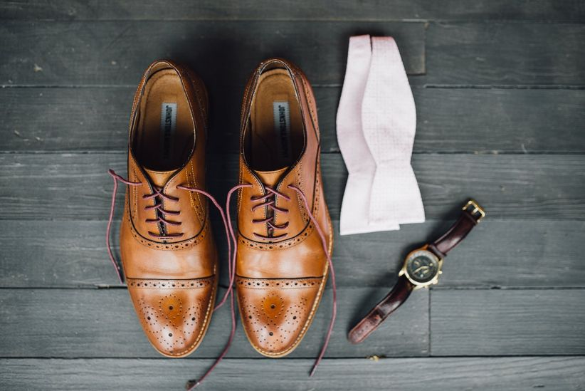 groom's shoes bow tie and watch