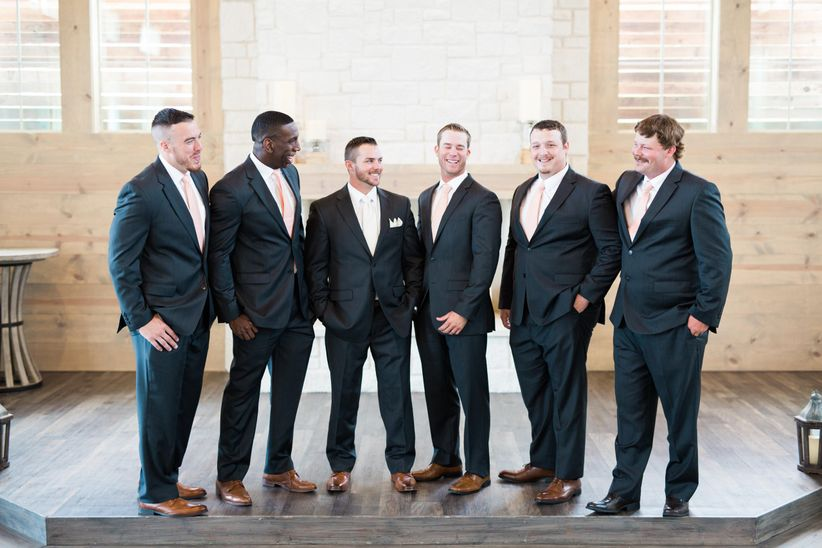 happy groom and groomsmen