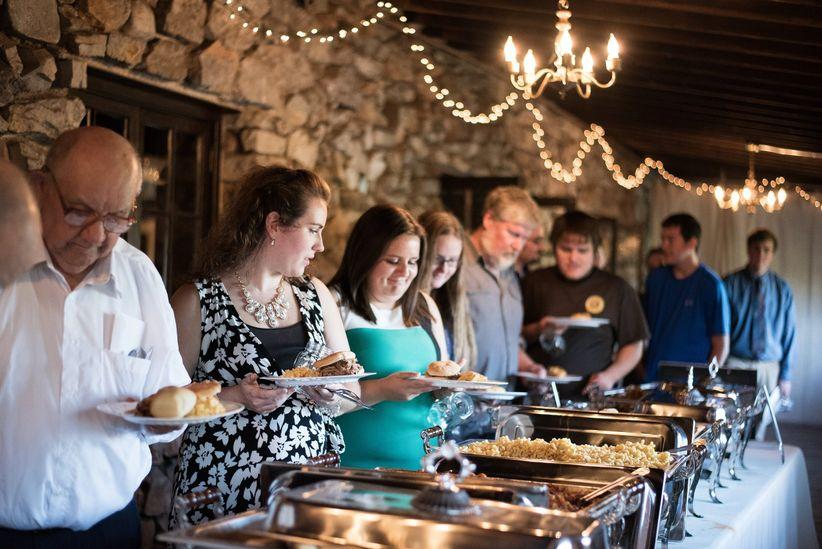 guests at wedding buffet
