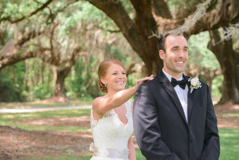 bride and groom formal attire first look priscilla thomas photography