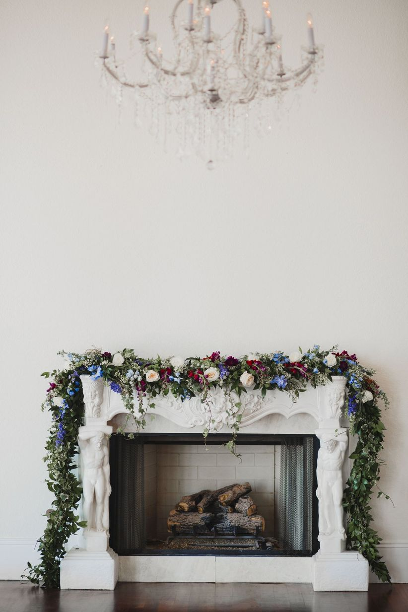 hamilton themed wedding ideas fireplace greenery garland