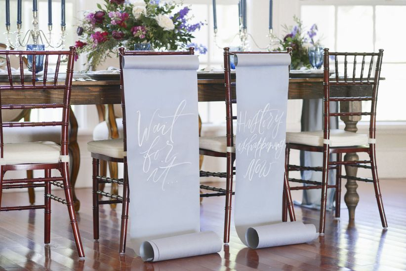 hamilton wedding chair signs