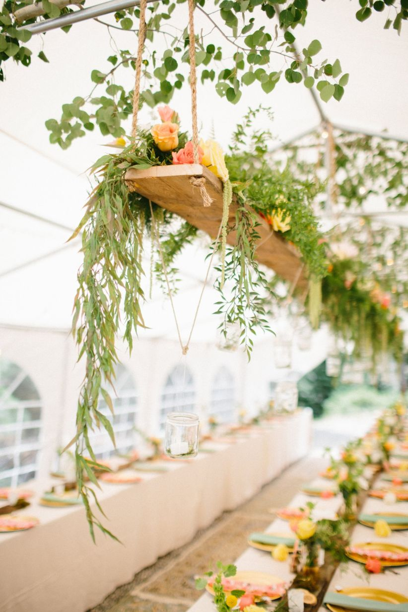 20 hanging centerpieces to spice up your ceiling weddingwire hanging wooden greenery tablescape reviewsmspy