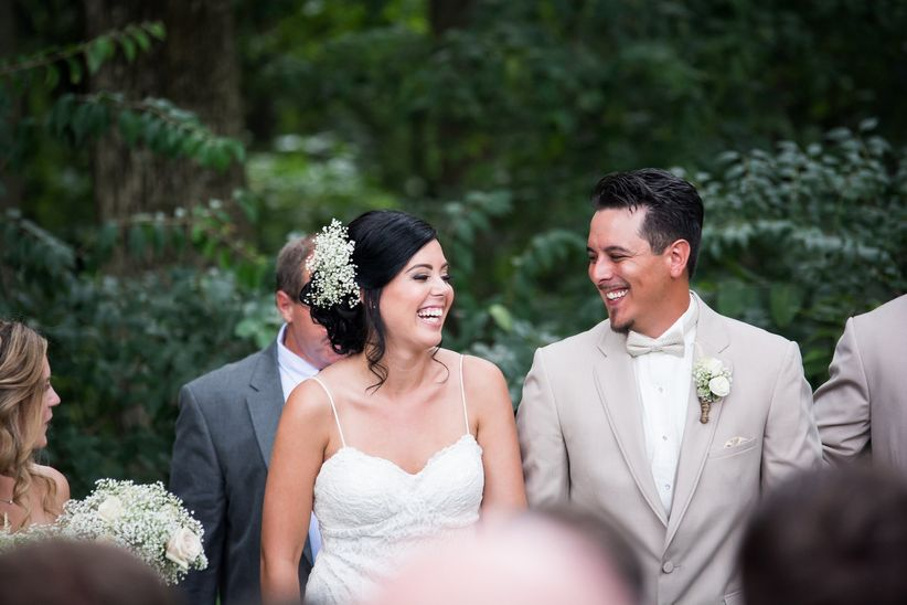 smiling couple recessional