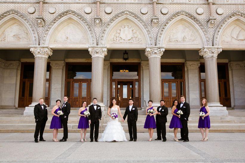 wedding party in front of hartford landmark