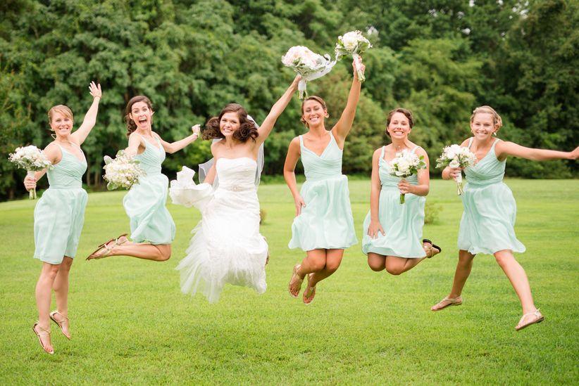 Bridesmaids jumping